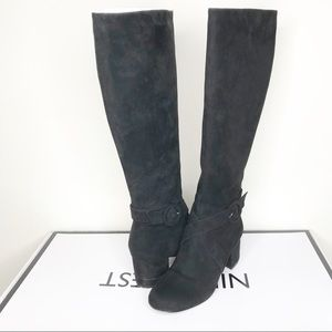 Nine West Black Suede Effect Knee-High Boots